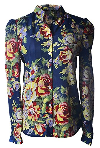 Betusline Women's Large Size Big Flower Printed Full Sleeve Chiffon Shirt Blouse (Big Sleeve Shirts For Women compare prices)