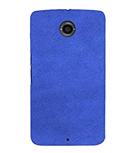 PrintVisa Blue Leather Design 3D Hard Polycarbonate Designer Back Case Cover for Motorola Motorola Google Nexus 6