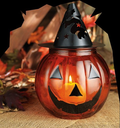 Large Glass & Metal Jack-o'-lantern Pumpkin Votive Holder Centerpiece