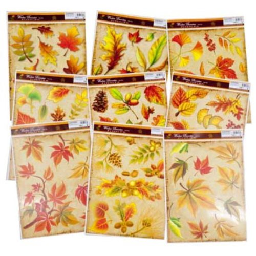 1 Sheet of Assorted Fall/Thanksgiving Leaves Window Clings