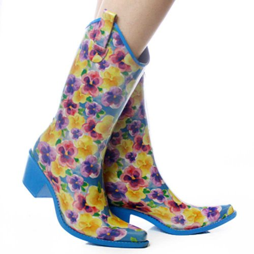 Nature Breeze Yellow-Blue Flowers Rubber Cowboy Western Rain Boots Size 7