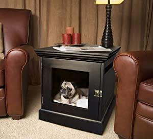 Small Espresso TownHaus Hideaway Dog House Nightstand End Table