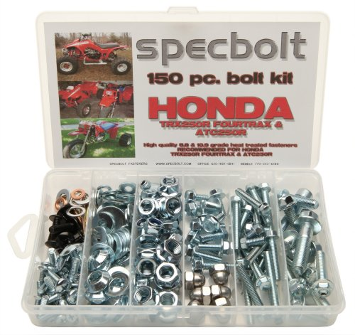 150pc Specbolt Honda TRX250R Fourtrax & ATC250R Bolt Kit for Maintenance & Restoration OEM Spec Fasteners fits quad and three wheeler TRX 250R & ATC 2 strokes (250r Three Wheeler Fenders compare prices)