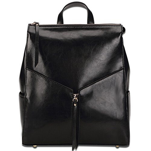 New Style Korean Version Fashion Casual Genuine Leather Women's Backpack Setchal Bag Top Handle Bag (black)