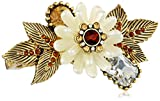 "Betsey Johnson ""Iconic Summer Metallics"" Pearl Flower Two-Finger Stretch Ring, Size 7.5"