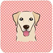 "Caroline's Treasures BB1252FC Checkerboard Pink Golden Retriever Foam Coaster (Set Of 4), 3.5"" H X 3.5"" W, Multicolor"