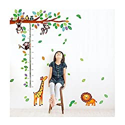 Monkey Business Height Chart cum Wall Sticker (Wall Covering Area: 180cm x 148cm) - WS-001127