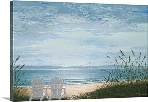Bruce-Nawrocke-Premium-Thick-Wrap-Canvas-Wall-Art-Print-entitled-Beach-Chairs