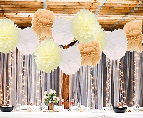 12pcs Big Size Tissue Paper Pom Pom Paper Flower Pom White Tan Cream 12inch 14inch for Baby Shower Rustic Wedding Birthday Bridal Shower Wall Decoration Table Centerpiece Photo Backdrop Decoration