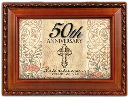 Cottage Garden 50th Wedding Anniversary Decorative Music Jewelry Box Plays Ave Maria (Schubert)