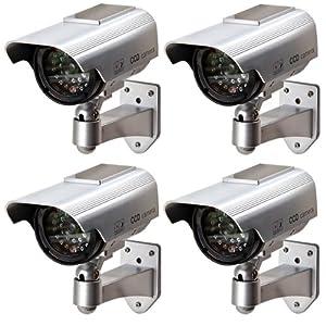 Floureon lot de 4 cam ras factice fausse avec panneau - Fausse camera de surveillance exterieur ...