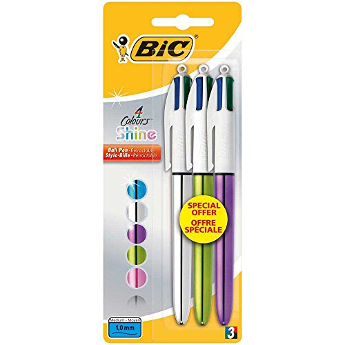 Bic Shine Stylo-bille rétractable Couleurs Assorties Blister de 3