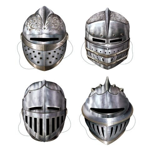 Paper Printed Knight Party Masks (4 count)