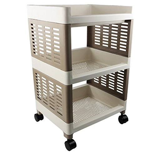 Nicesh 3 Tier Kitchen Rack Cart, Bathroom Rolling Shelves, With Wheels(khaki) O (Small Utility Table compare prices)