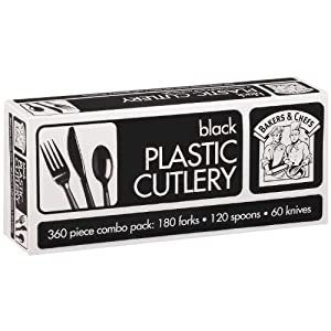 Bakers and Chefs Black Plastic Cutlery Combo Pack, 360 Count by Bakers & Chefs