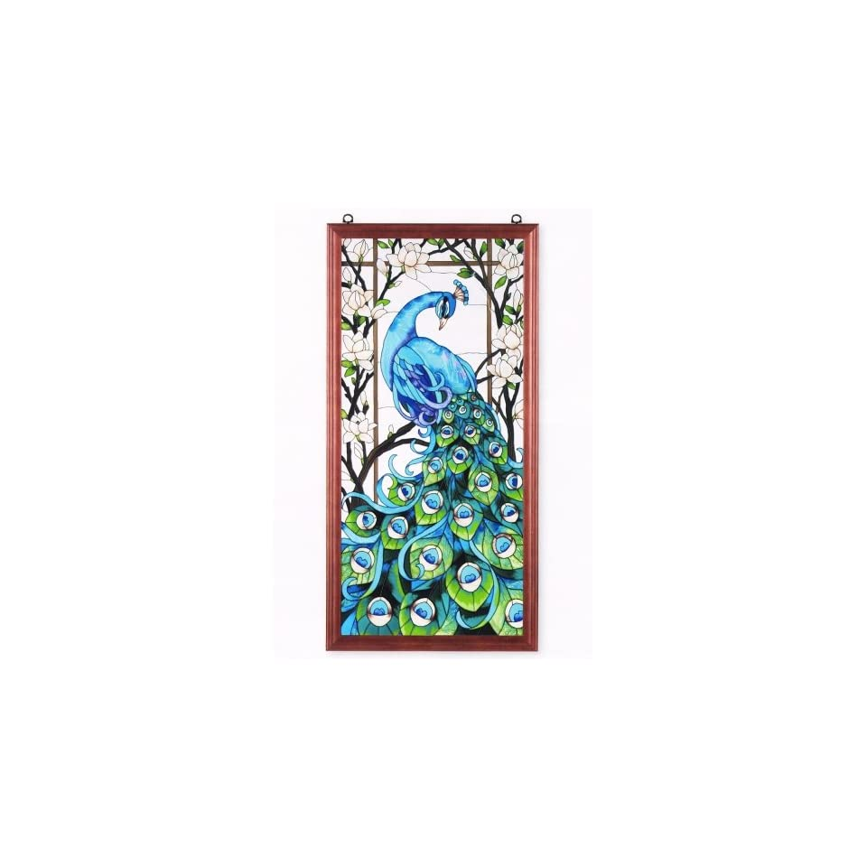 Peacock stained glass suncatcher window panel 20 w x 40 h for 20 40 window