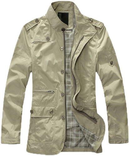 Men's Classic England style Fashion Stylish Coats Jackets Outwear (Large, Beige(Thin Style))