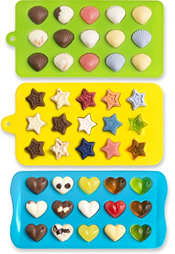 Candy Molds & Ice Cube Trays - Hearts, Stars & Shells - Silicone Chocolate Molds - Fun, Toy Kids Set (Hearts Ice Cube Tray compare prices)