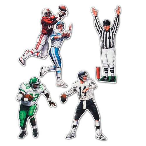 Beistle 55174 4-Pack Football Figures for Parties, 17-Inch-22-Inch