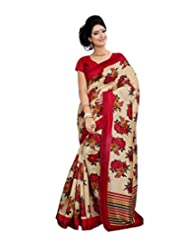 Anu Designer Self Print Saree (6410A_Multi-Coloured)