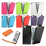 iStyle Genuine Leather Up-Down Open Flip Case Pouch Cover Holder Wallet for iPhone 5/5S-Purple