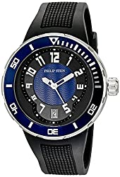 Philip Stein Mens 34-BBL-RB Active Extreme Stainless Steel Watch with Textured Rubber Band