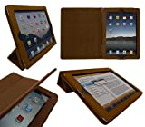 "ITALKonline PADWEAR ADVANCED Executive TAN (Light Brown) Wallet Case Cover Stand With TRI-FOLD SMART TILT and Magnetic Sleep Wake Sensor Feature For Apple iPad 3 ""The New iPad"" 2012 3rd Generation HD 2S (Wi-Fi and Wi-Fi + 3G) 16GB 32GB 64GB - Retina Disp"