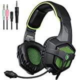 2016 SADES SA-807 Multi-Platform Gaming Headset, Wired Over-Ear Headphones with Mic Revolution for PC Mac Laptop iPad iPod New Xbox one PS4 (Black&Green)