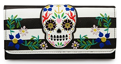 Loungefly Sugar Skull Stripes With Flowers Wallet (Blk/Wht)