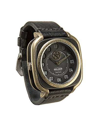 Welder Men's Quartz Watch with Black Dial Analogue Display and Black Leather Strap K47-4011
