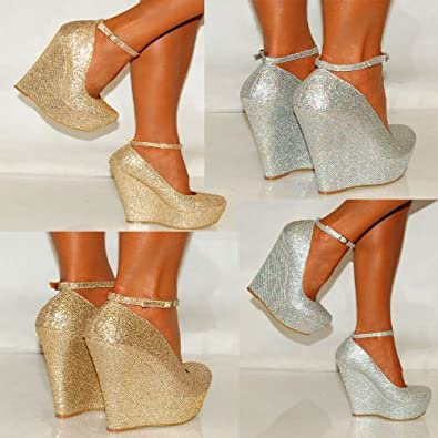 Ladies Womens Gold Silver Glitter Shimmer Court Wedges Platforms High Heels Party Prom Shoes 3-8 (UK5/EURO38, Silver Shimmer)