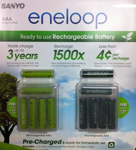 Sanyo 12 Pack AAA eneloop 2nd generation 1500 cycle Rechargeable Batteries with 2 Plastic Storage Cases