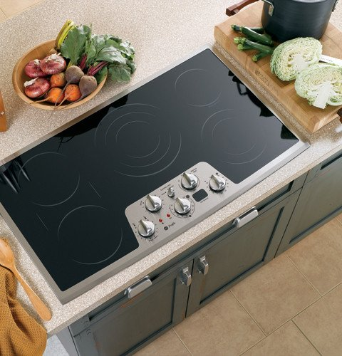 GE Profile CleanDesign PP962SMSS 36 Smoothtop Electric Cooktop, Black with Stainless Steel Trim
