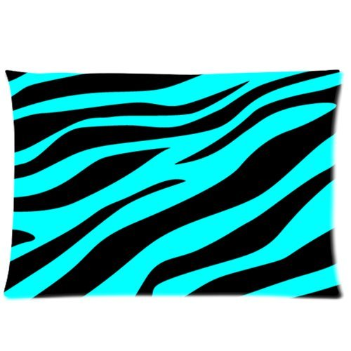 Chic Black And Blue Zebra Stripes Print Pillow Case Pillow Inner Included Soft Bedding 20X30(One Side) New Fashion