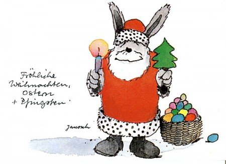 Janosch Postkarte Fröhliche Weihnachten, Ostern und Pfingsten