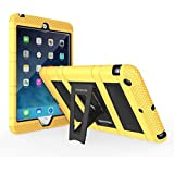 MoKo Apple iPad Mini 3, 2 and 1 Case - MoKo Silicone + Black Hard Polycarbonate Protector with Foldable Stand Cover Case for Mini3 (2014 edition with Touch ID), Mini2 (2013 model with Retina Display) and Mini (2012 1st gen), YELLOW