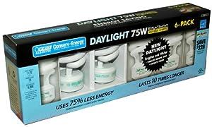 Feit Electric 18-Watt Compact Fluorescent Light Bulb, Daylight, 75-Watt Equivalent, 6-Pack