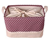 GreenForest Storage Round Pop-Up Laundry Hampers basket with totes, Pink and Purple Dots