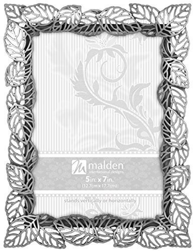 Malden International Designs Diecast Pewter Metal Leaf Picture Frame, 5 by 7-Inch