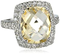 Sterling Silver Citrine and White Topaz Ring by Chateau D'Argent - Consignment