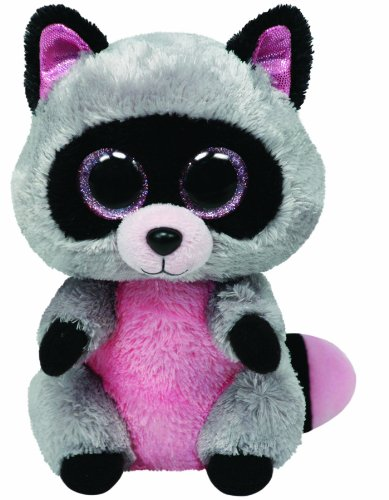 Ty Beanie Boos Buddies Rocco Grey Raccoon Medium Plush