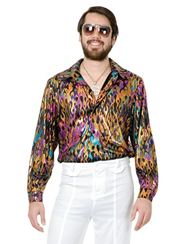 Mens Adult's 70s Metallic Super Hot Multi-Colored Vintage Flame Disco Shirt