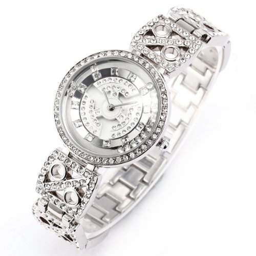 WEIQIN Sliver Bling Crystal Rotating Dial MOP Lady Women Bracelet Quartz Wrist Watch WQI038