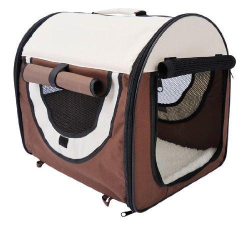 D1-0100 faltbare Transportbox für Haustier, kaffeebraun/creme