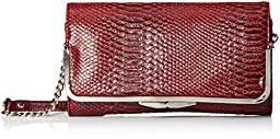 Nine West Glitter Mob Wallet On A Chain Foldover Clutch, Cassis Briar Rose, One Size