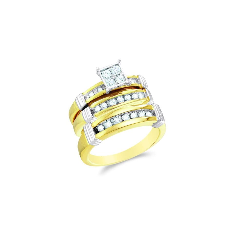 Size 6   10K Two Tone Gold Diamond Mens and Ladies His & Hers Trio 3 Three Ring Bridal Matching Engagement Wedding Ring Band Set   Square Princess Shape Center Setting w/ Pave Channel Set Round Diamonds   (3/5 cttw)   SEE PRODUCT DESCRIPTION TO CHOOSE BO