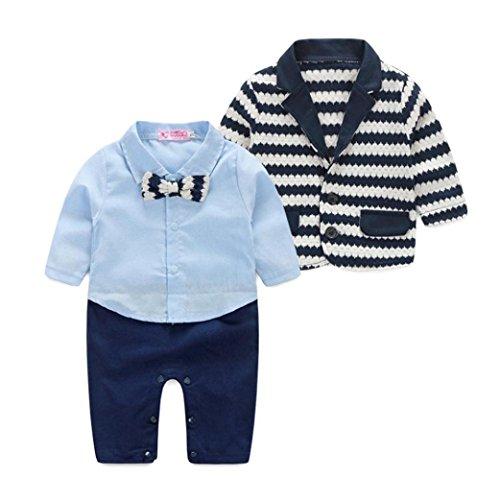 Culater® i neonati a strisce signori l'insieme dei vestiti giacca sportiva + vestito pagliaccetto (80)