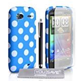 HTC Sensation / Sensation XE Stylish Polka Dot Silicone Gel Patterned Case Cover With Stylus Pen And Screen Protector Film Blue White Spotsby Yousave Accessories