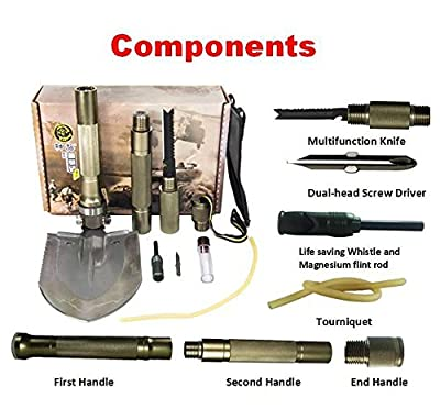 Multi-function Folding Shovel Axe Hoe Hammer Knife Fire Flint Whistle Camping Hunting Self Driving Tourniquet Solo Snowberg Survival Tool by Doingoutdoor