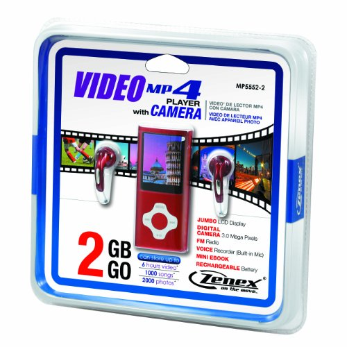 Zenex MP5552-2 2 GB MP4 Video Player with Camera and FM Radio Tuner, Red
